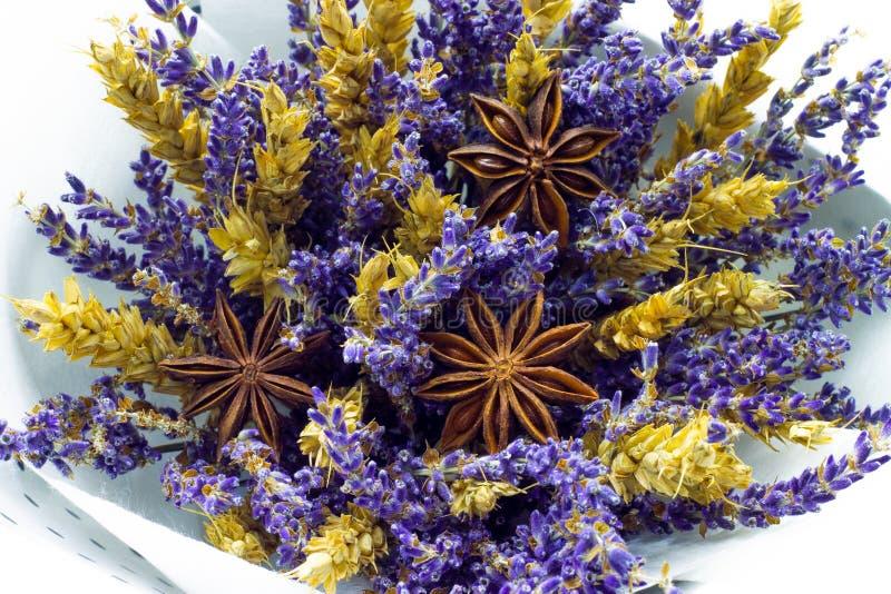 Bukett av torkade blommor med lavendel, stjärnaanis och blom- bakgrund för sädesslag royaltyfri bild