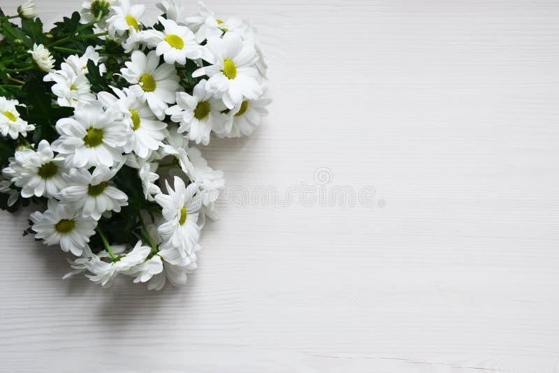 Bukett av vita krysantemum på vit wood bakgrund arkivbild