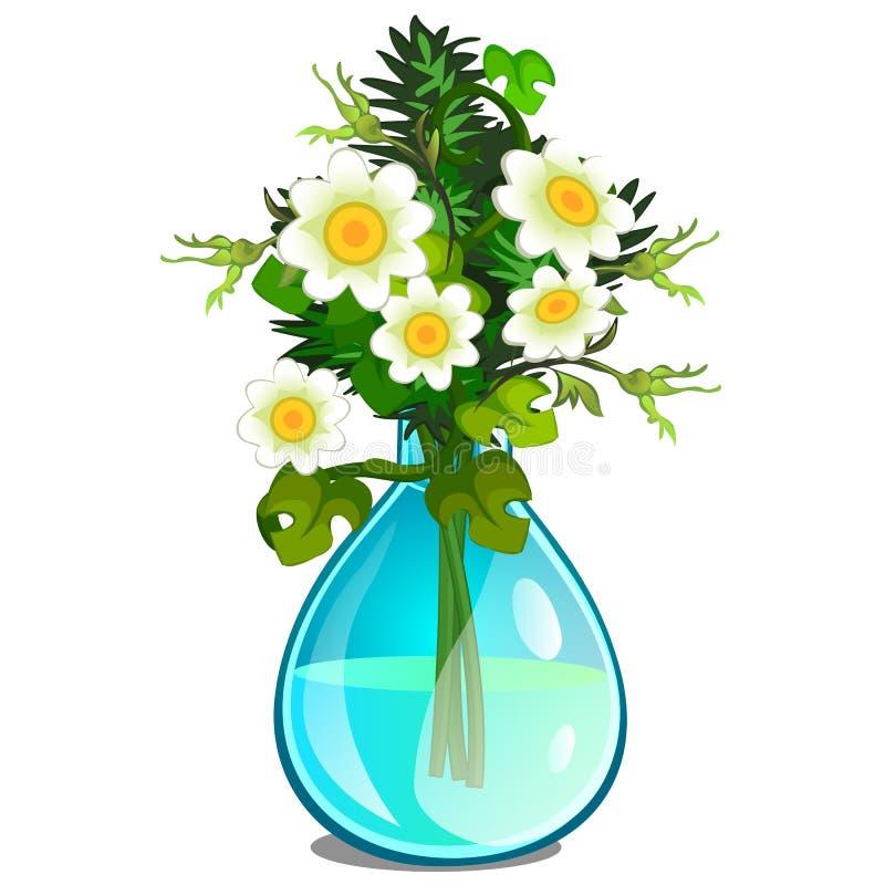 Bukett av vita tusenskönor i den glass vasen vektor stock illustrationer