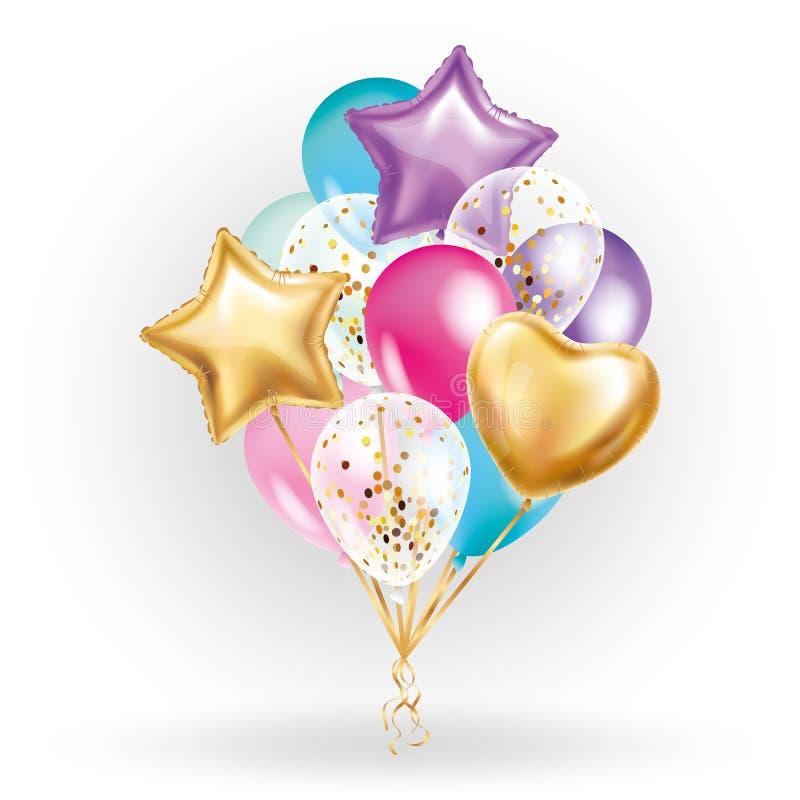 Bukett för ballong för hjärtastjärna guld- vektor illustrationer