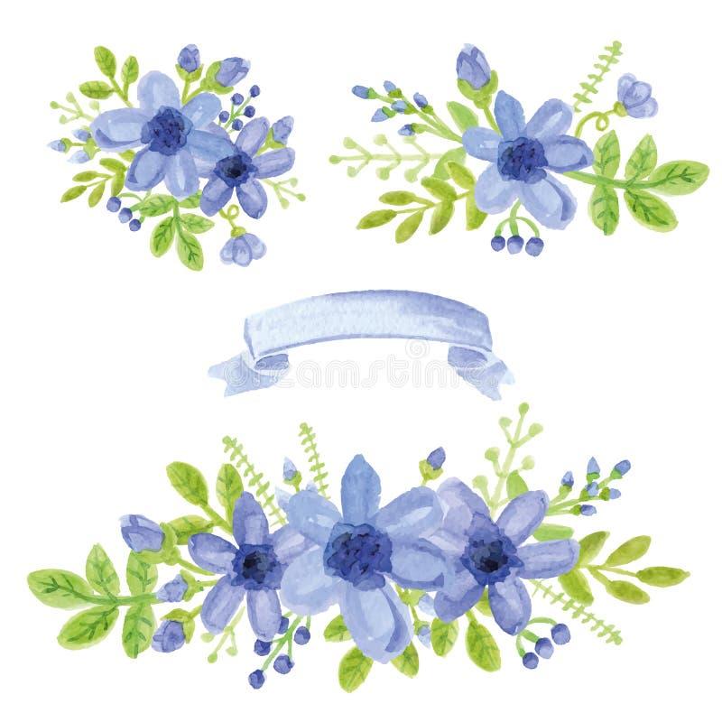 Bukett för blå tusensköna för vattenfärg Blom- dekoruppsättning vektor illustrationer