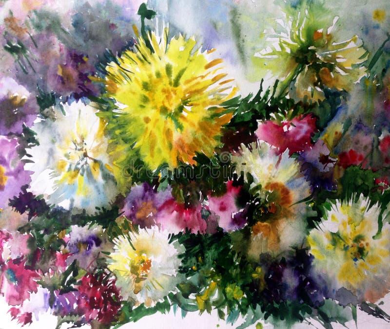 Bukett för blomma för vattenfärgkonstbakgrund färgrik vektor illustrationer