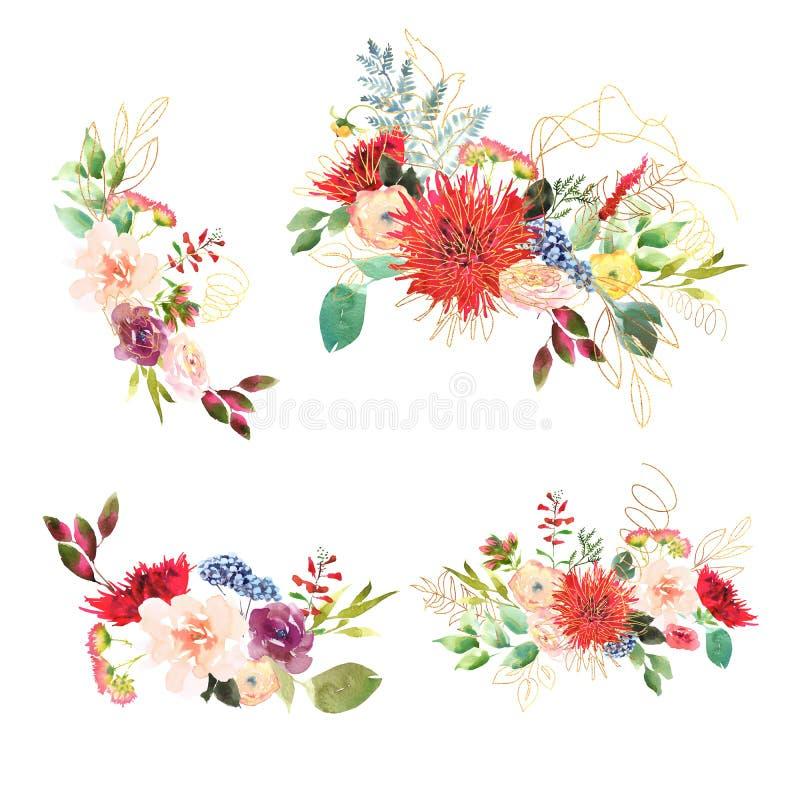Bukett för ljust bröllop för samling brud- romanric Röd och purpurfärgat och grön blommaprydnad för handteckningsvattenfärg vektor illustrationer