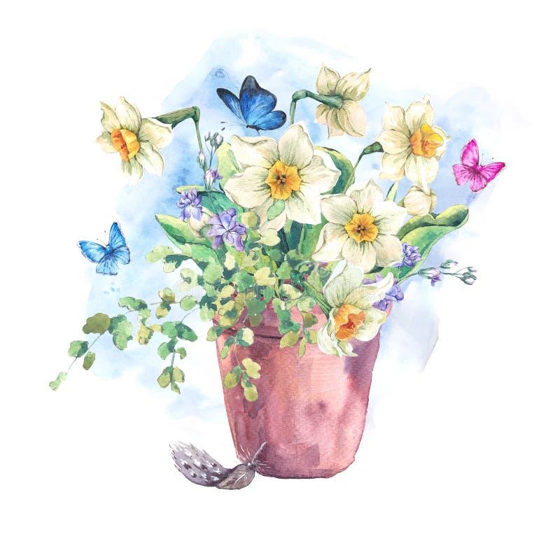 Bukett för vattenfärgträdgårdvår i blomkrukor royaltyfri illustrationer