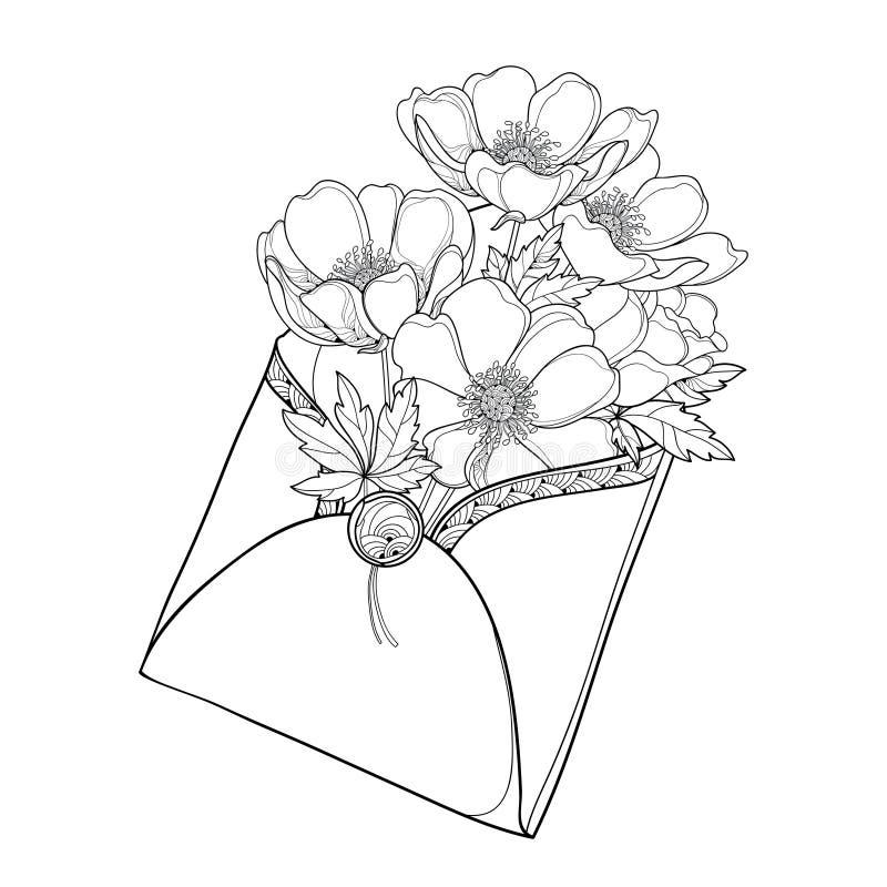 Bukett för vektorhandteckning av den översiktsanemonblomman, knoppen och bladet i det öppna hantverkkuvertet i svart som isoleras stock illustrationer
