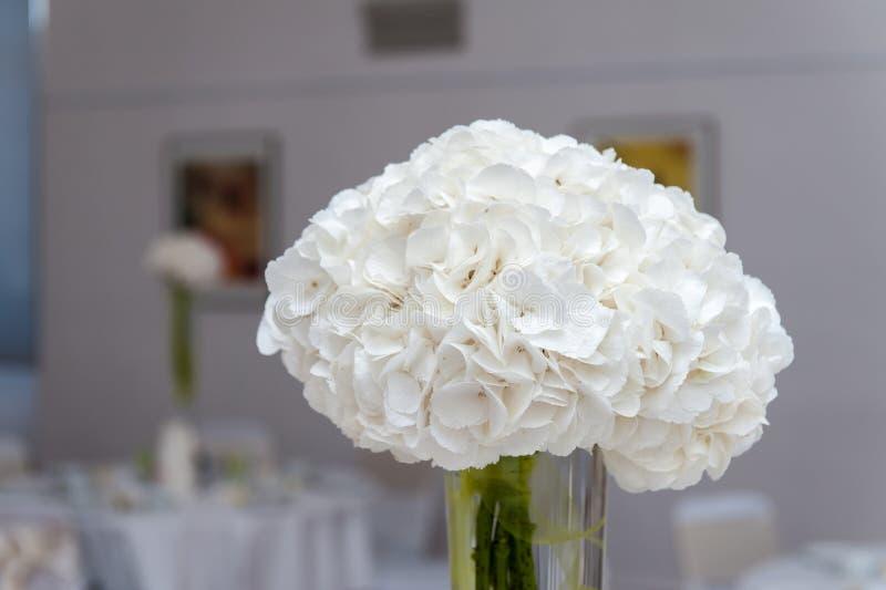 Bukett för vit blomma i vas på tabellen royaltyfri bild