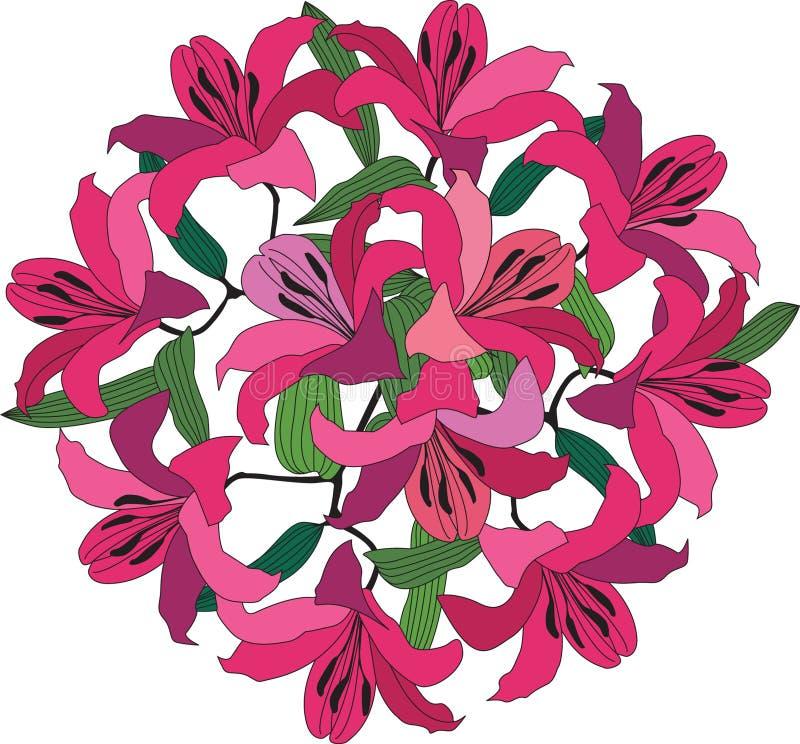 Bukett med den crimson och rosa liljan stock illustrationer