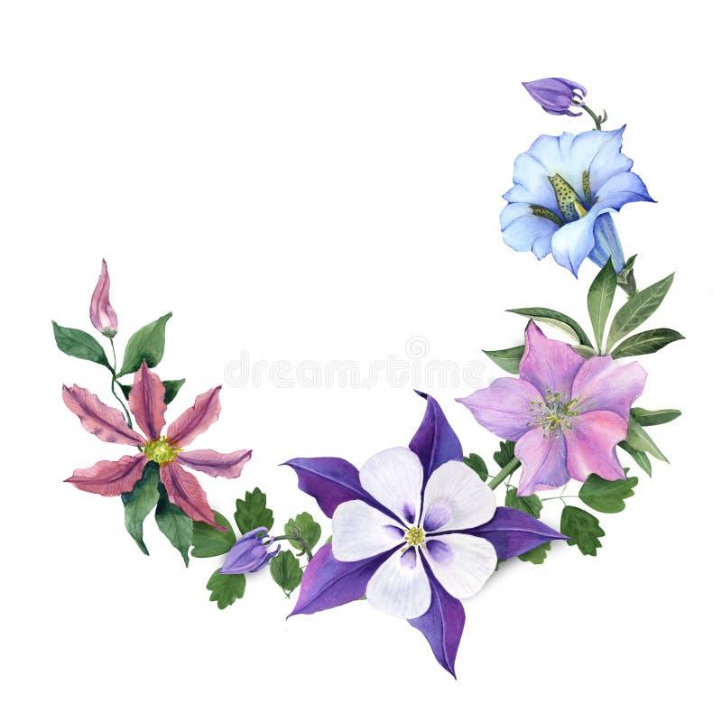 Bukett med gentiana- och trädgårdblommor royaltyfri illustrationer