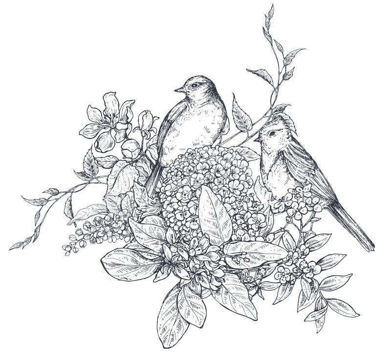 Bukett med hand drog blomningfilialer och fåglar stock illustrationer