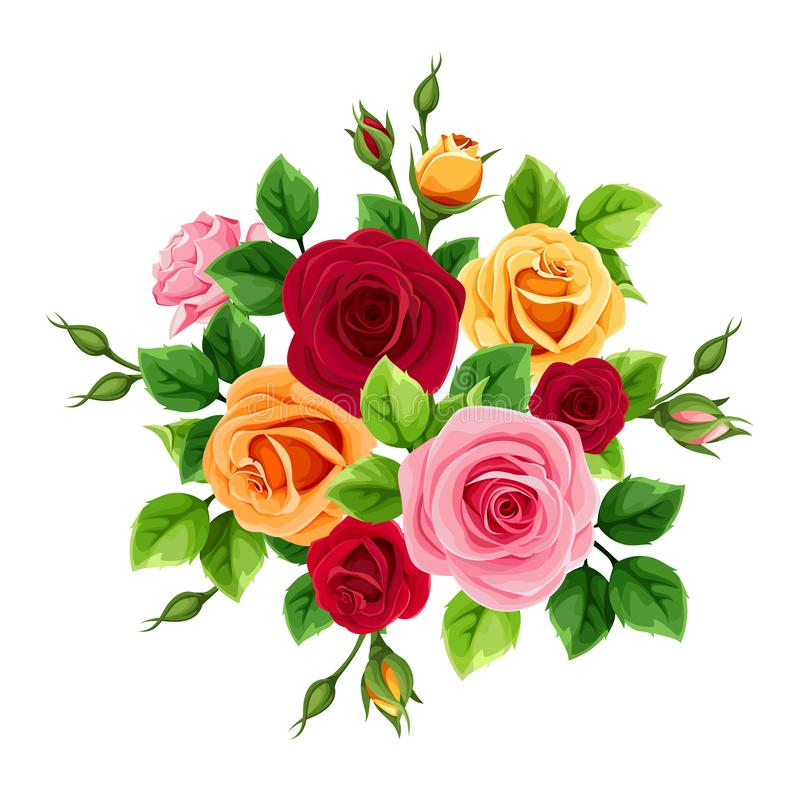Bukett med röda, rosa, orange och gula rosor ocks? vektor f?r coreldrawillustration stock illustrationer