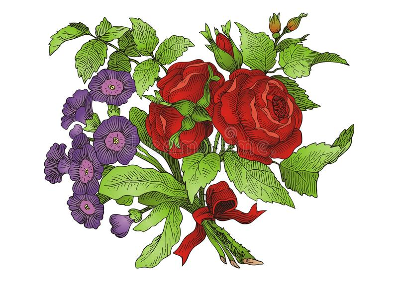 bukettblomma royaltyfri illustrationer