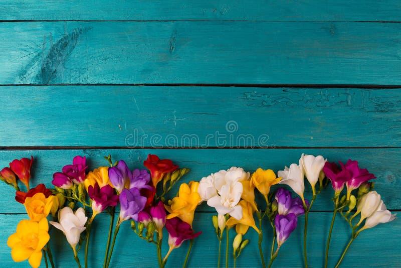 Buketten av freesia blommar på en träbakgrund arkivbild