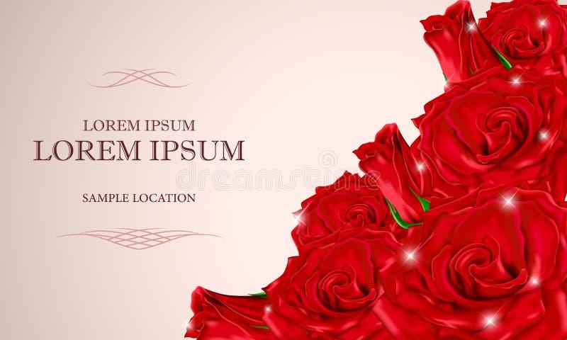 Buketten av röda rosor med texten på kortet royaltyfri bild