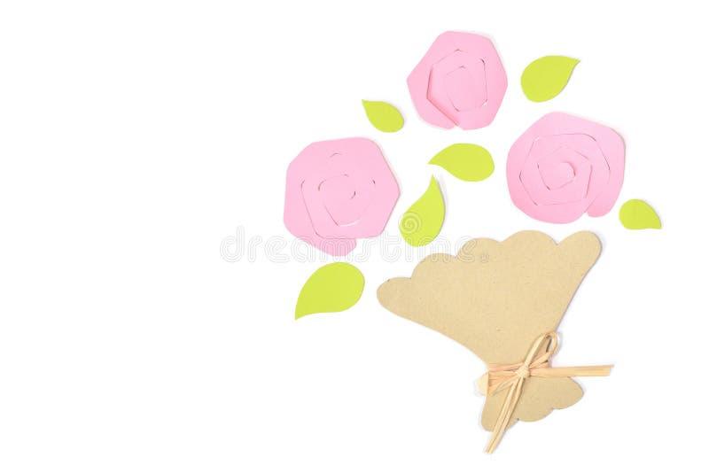 Buketten av rospapper klippte på vit bakgrund stock illustrationer