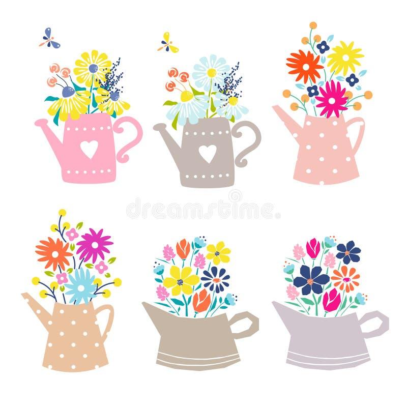 Buketten av tusensköna- och tulpanblommor i bevattna kan Gullig blom- illustration för vykort som isoleras på vit royaltyfri illustrationer