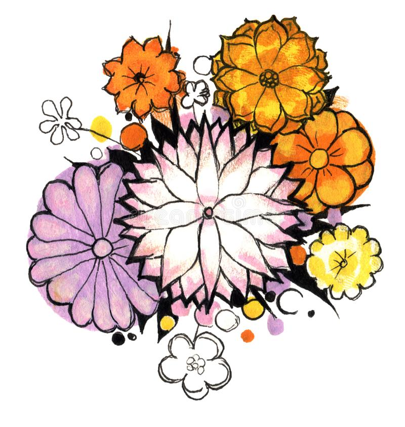 buketten blommar fjädern royaltyfria foton