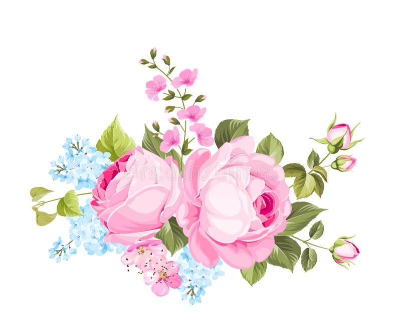 buketten blommar fjädern vektor illustrationer