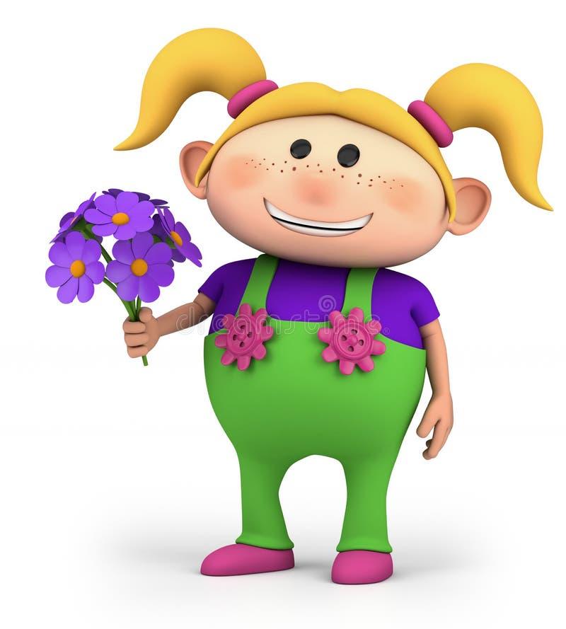 buketten blommar flickan vektor illustrationer