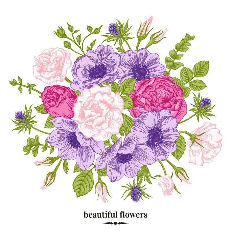 buketten blommar sommar stock illustrationer