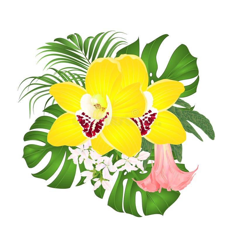 Buketten med blom- ordning för tropiska blommor, med den härliga gula orkidécymbidiumen, gömma i handflatan, philodendronen och B stock illustrationer