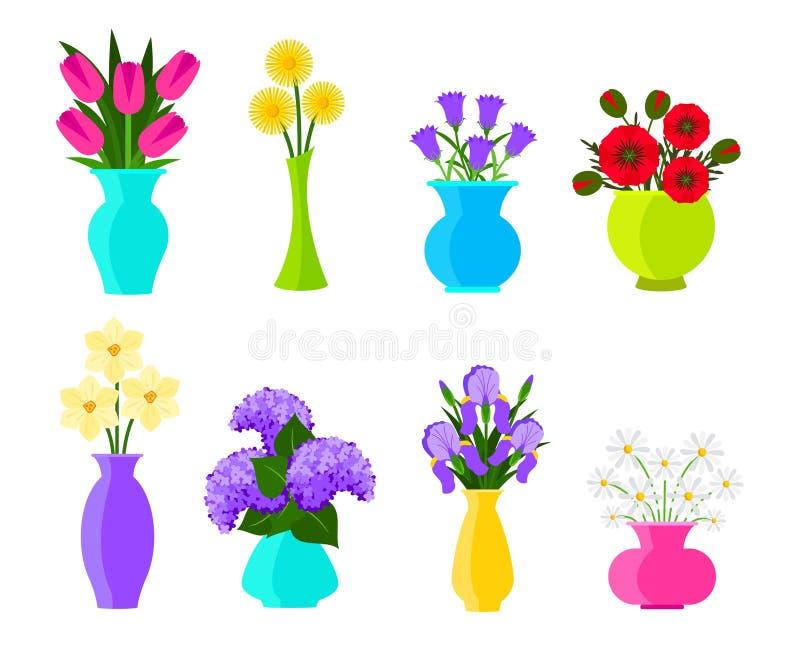Buketter av blommor i vaser i plan stil Sommar och vårblommauppsättning Vektorn blommar illustrationen som isoleras p? vit stock illustrationer