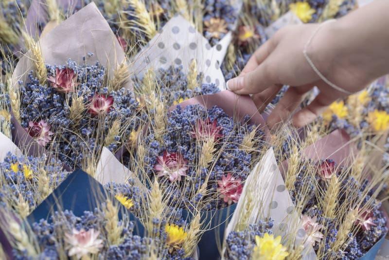 Buketter av lösa ängblommor, torkade blommor, den handgjorda blommamässan och den kvinnliga handen av blomsterhandlaren royaltyfri foto