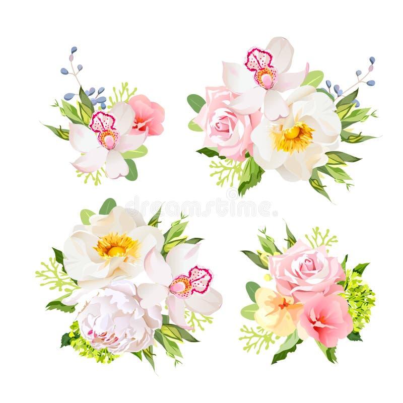 Buketter av löst steg, orkidén, pionen, den gröna vanliga hortensian, rosa färgblommor och blåa bär stock illustrationer