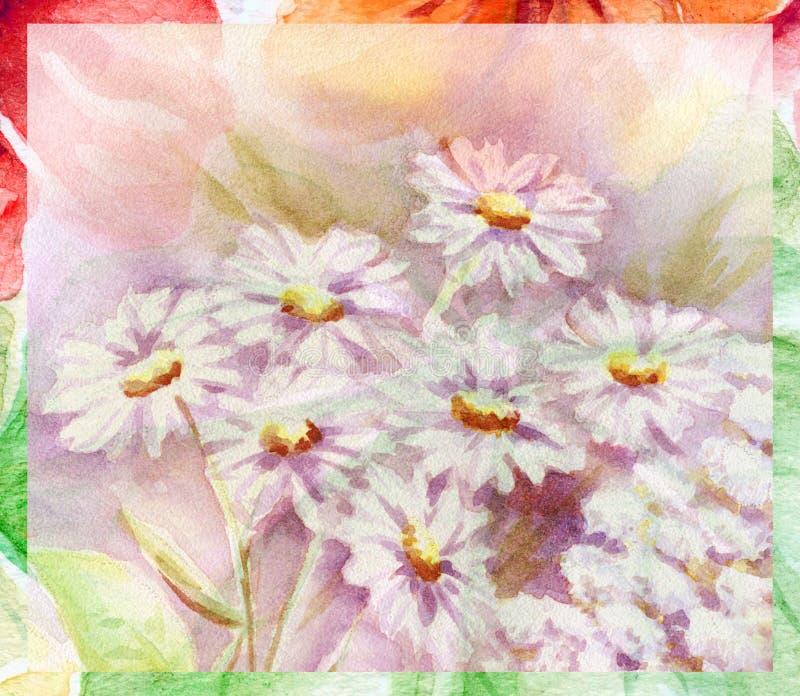 bukettfärg blommar vatten royaltyfri illustrationer