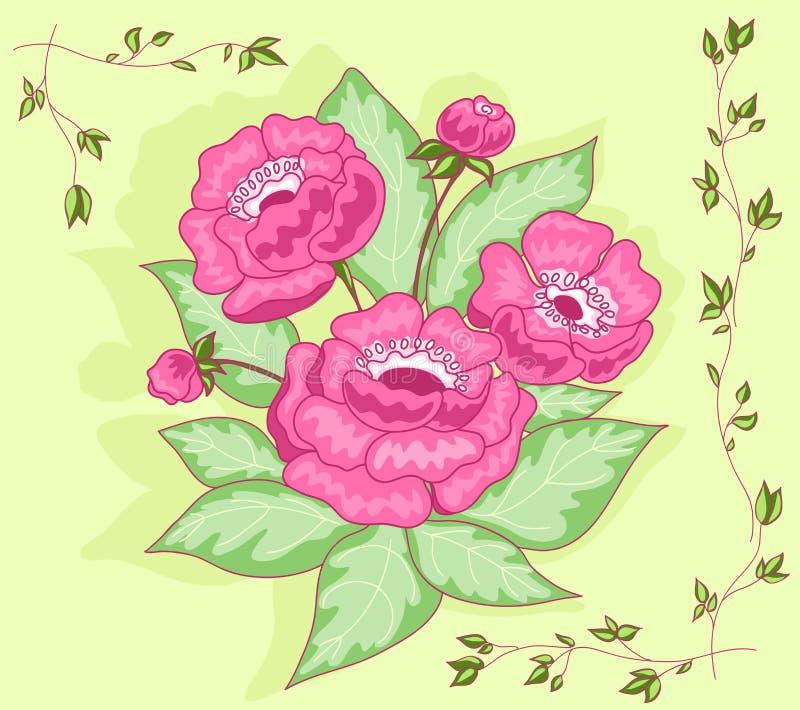 bukettkortet blommar pink vektor illustrationer