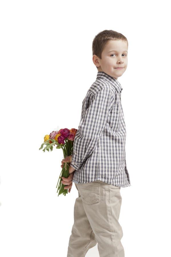 bukettpojkedagen blommar mödrar arkivbilder