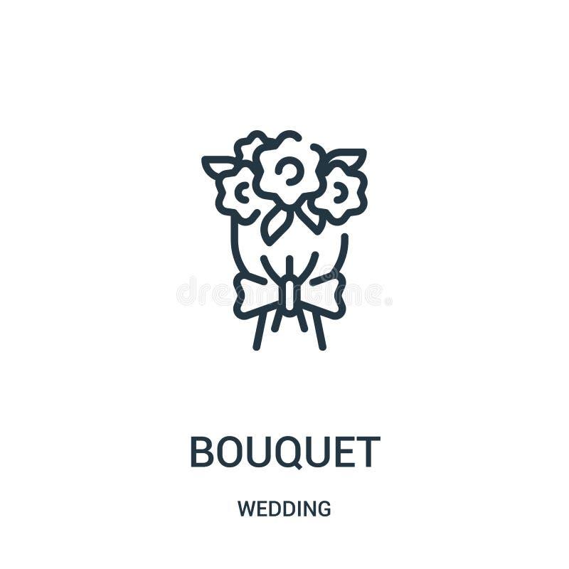 bukettsymbolsvektor från att gifta sig samlingen Tunn linje illustration för vektor för bukettöversiktssymbol Linjärt symbol för  royaltyfri illustrationer