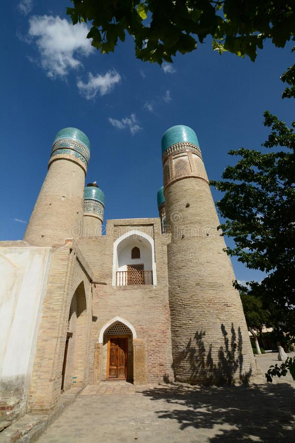 Side view of Chor Minor. Bukhara. Uzbekistan. Bukhara is a city in Uzbekistan, located on the ancient Silk Road, rich in historical sites, with about 140 royalty free stock image