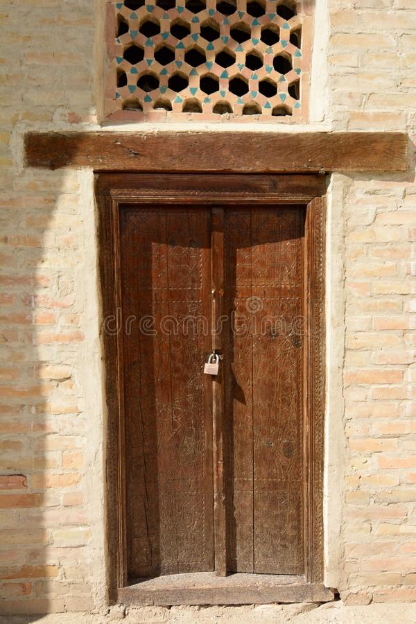Door detail. Chor Minor. Bukhara. Uzbekistan. Bukhara is a city in Uzbekistan, located on the ancient Silk Road, rich in historical sites, with about 140 stock image