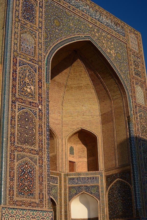 Mir-i-Arab madrasah portal. Po-i-Kalyan complex. Bukhara. Uzbekistan. Bukhara is a city in Uzbekistan, located on the ancient Silk Road, rich in historical sites royalty free stock photography