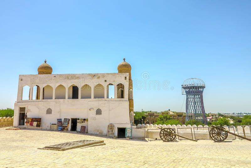 Bukhara Old City 23. Bukhara Old City Ark Citadel Canons with Shukhov Tower View royalty free stock images