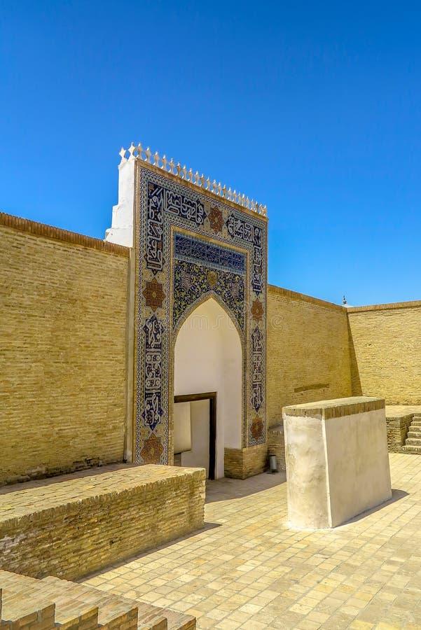 Bukhara Old City 20. Bukhara Old City Ark Citadel Iwan Portal Gate Entrance Side View stock image
