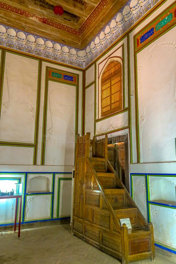 Bukhara Old City 08. Bukhara Old City Picturesque Breathtaking Ark Citadel Dzhuma Mosque Mihrab Stairs royalty free stock image