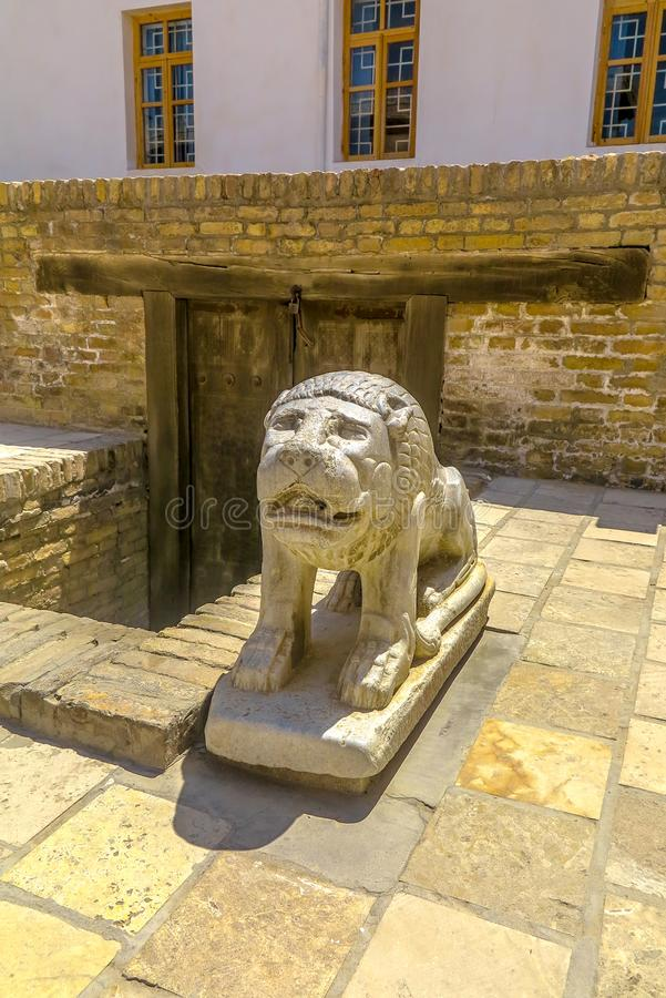 Bukhara Old City 17. Bukhara Old City Picturesque Breathtaking Ark Citadel Stone Lion Sculpture stock image