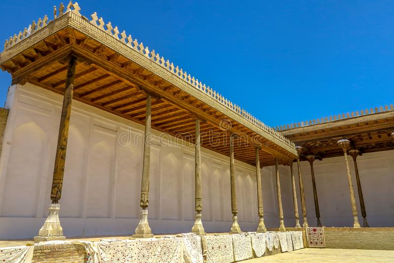 Bukhara Old City 18. Bukhara Old City Picturesque Breathtaking Ark Citadel Corridor with Wooden Columns stock photos