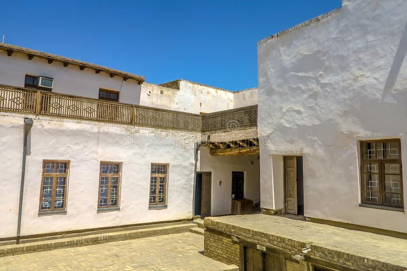 Bukhara Old City 15. Bukhara Old City Picturesque Breathtaking Ark Citadel Courtyard with Windows royalty free stock photo