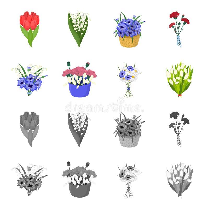 Bukiet świeżych kwiatów kreskówka, monochromatyczne ikony w ustalonej kolekci dla projekta Różnorodnych bukietów symbolu wektorow ilustracji