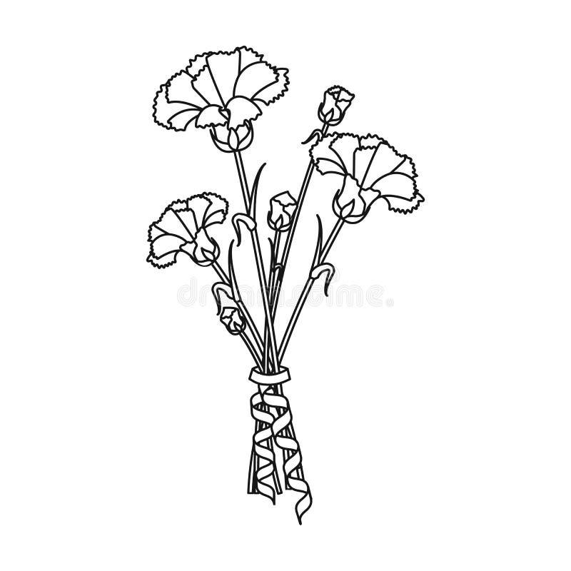 Bukiet świezi kwiaty przerzedże ikonę w konturu stylu dla projekta Bukieta symbolu zapasu ilustraci wektorowa sieć royalty ilustracja