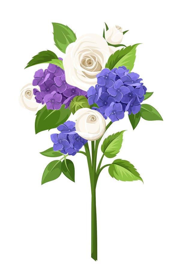 Bukiet błękitni, purpurowi i biali kwiaty, również zwrócić corel ilustracji wektora ilustracji