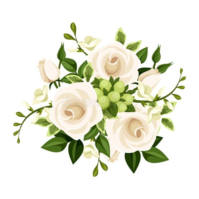 Bukiet białe róże i frezja kwiaty również zwrócić corel ilustracji wektora ilustracji