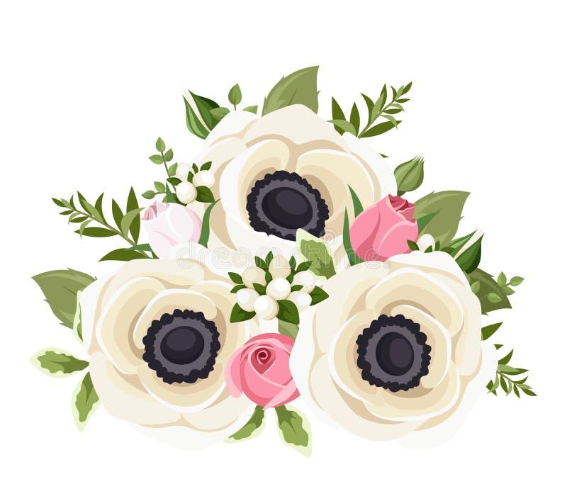 Bukiet biali anemonów kwiaty i różowi rosebuds również zwrócić corel ilustracji wektora royalty ilustracja