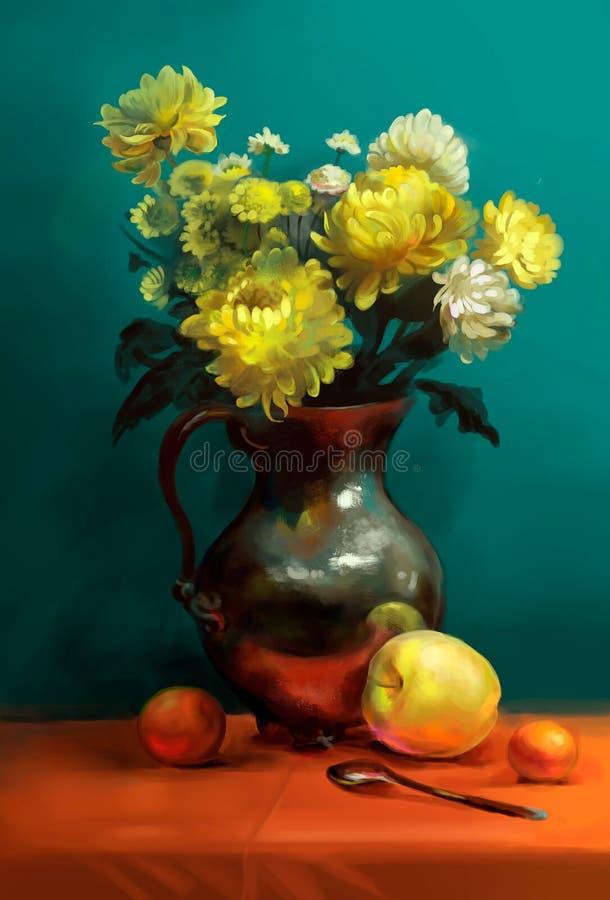 Bukiet chryzantemy na stole royalty ilustracja