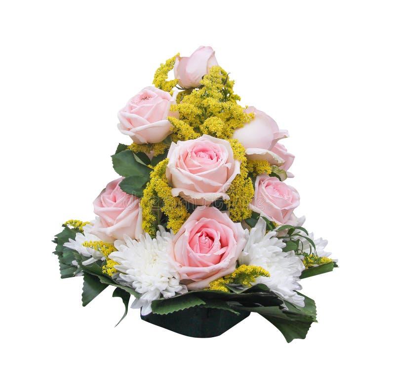 Bukiet cukierki menchii rosesflowers kwitnąć odizolowywam na białym tle z ścinek ścieżką zdjęcie royalty free