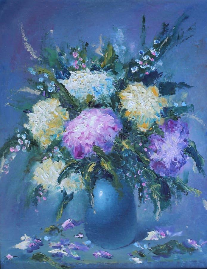 Bukiet czerwoni i biali kwiaty w wazie życie, wciąż royalty ilustracja