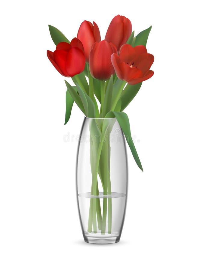 Bukiet czerwoni tulipany w szklanej wazie ilustracja wektor
