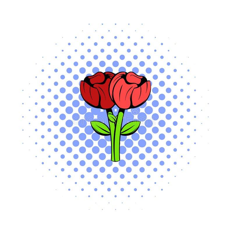 Bukiet dwa kwiatów ikona, komiczki projektuje ilustracji